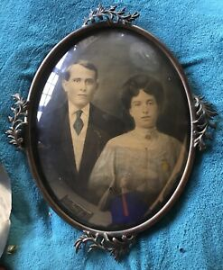 Antique Victorian Brass Picture Frame Convex Bubble Glass With Portraits 24 X19