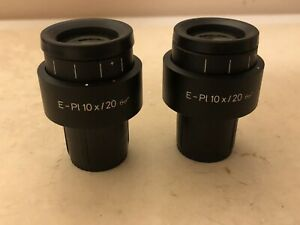 Pair Zeiss E Pl 10x 20 Glasses Microscope Eyepieces 30mm