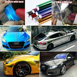 Bubbles Free Car Flat Glossy Bright Mirror Chrome Vinyl Wrap Film Sticker Cfus