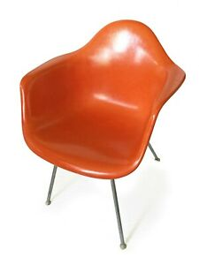 Eames Herman Miller 2nd Gen Dax Fiberglass Arm Shell Chair Mid Century Orange