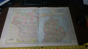 Antique 1900 Michigan And Wisconsin Map World Atlas Vintage United States