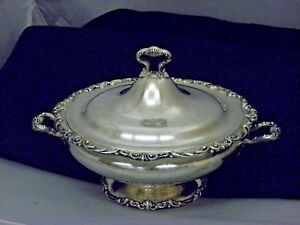 Shreve Crump Low Co St Silver Large Pedestal Covered Serving Bowl Cr 1870
