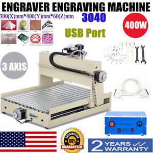 3040 3 axis Cnc Router Engraver Desktop Engraving Drilling Mill Machine Usb 400w