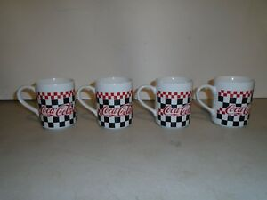 SET OF 4 GIBSON CHINA COCA-COLA MUGS NEW  1996