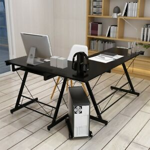 L shaped Corner Computer Desk Wood Pc Laptop Table Workstation Home Office Desk