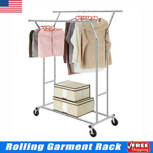 Double Heavy Duty Collapsible Adjustable Cloth Rolling Garment Hanger Rack Usa