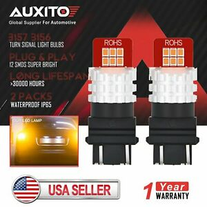 2x Auxito Amber Yellow 3157 4157na 3457 Led Turn Signal Side Marker Light Bulbs