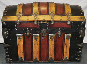 Large Antique Restored Trunk Cedar Lined Blanket Chest Dome Top Domed Black Red