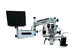 Wall Mount Dental Surgical Microscope 5 Step Beam Splitter hd Camera Led Tv Set