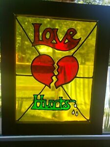 Retro Vintage Love Hurts Leaded Stained Glass Window