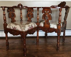 Antique Victorian Era Hand Carved Wooden T Te T Te Courting Bench Seat Chair
