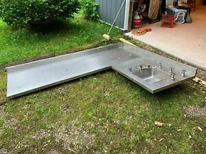 8 X 6 Corner Stainless Steel Lab Counter Sink Industrial Kitchen Commercial