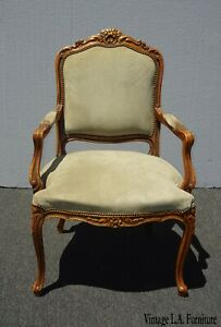Vintage French Provincial Country Ornate Sage Green Suede Accent Chair Louis Xvi