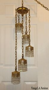 Vintage French Provincial Five Arm Swag Hanging Light W 400 Crystals Chandelier