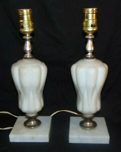 Vintage White Cased Frosted Glass Electric Table Lamps On Marble Bases