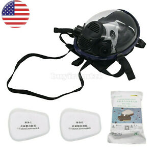 7pcs set Full Face Gas Mask Respirator Mask For Painting Spraying Welding Usa