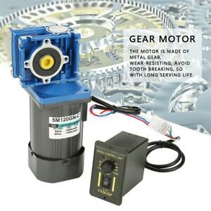 Ac 220v 120w Worm Gear Motor Variable Speed Robot Gearmotor Low Speed Governor