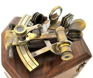 Nautical Brass Sextant Marine Collectible Working German Maritime W Wooden Box