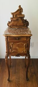 Antique French Louis Xv Nightstand In Solid And Veneered Walnut With Marble Top