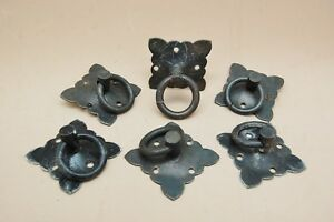 Drawer Door Ring Pull Lot 6 Matching Iron Square Plate 2 X 2 Arts Craft Mission