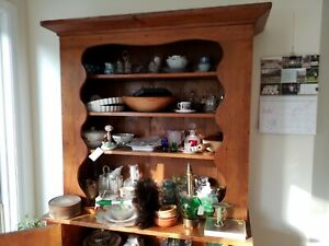 Antique 19th Century Pine Step Back 2pc Cupboard Cabinet