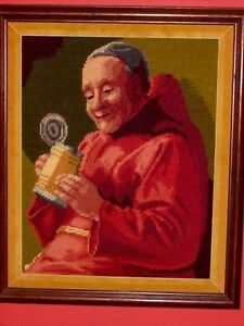 Antique Old Vintage Needlepoint Art Happy Drinking Monk In Red Robe With Stein