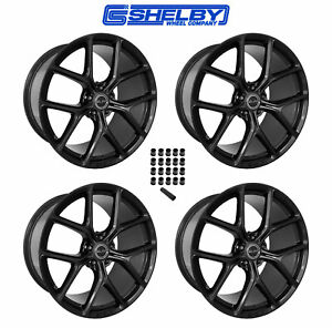 2015 2019 Ford Mustang Shelby Staggered Black Wheels Lug Nuts 20 X 11 9 5