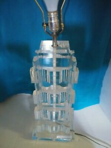 Amazing Vintage Mid Century Stacked Lucite Slabs Lamp Heavy