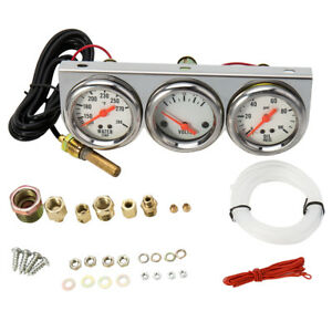 Auto Mechanical Triple Gauge Kit 18cm Chrome Volt Water Oil Pressure 3 Gauge Set