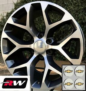 22 Inch Chevy Tahoe Oem Specs Snowflake Wheels Machined Gray Rims 22 X9