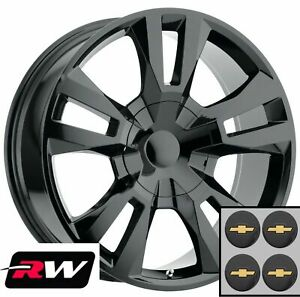 24 Inch 24 X10 Chevy Tahoe Oem Specs Wheels Gloss Black Rst Edition Rims