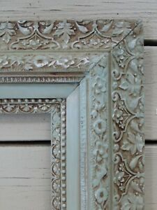 Vtg Huge Wooden Picture Frame High Relief Ornate Shabby Chic Turquoise 29 X 25