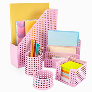 Pink Desk Organizer Office Desk Set 5 Desktop Accessories For Women Includes