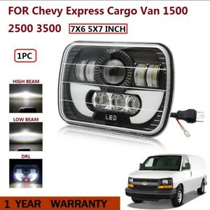 7x6 5x7 120w Led Headlight Halo Drl For Chevy Express Cargo Van 1500 2500 3500