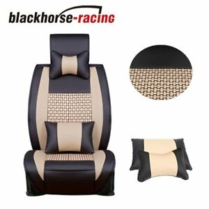 5 Seats Cushion W Pillows Car Seat Cover Front Rear Pu Leather Cooling Mesh
