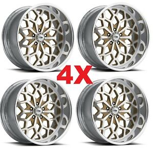 Pro Wheels Snowflake 20 Gold Year Forged Billet Aluminum Rims Custom Set Usa