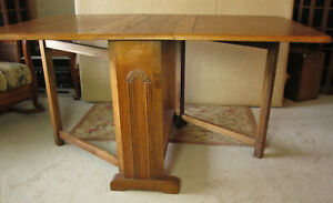 Oak Gateleg Dining Table Dropleaf Uk British Early 20th Century Seats 6