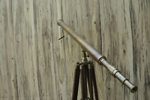 Marine Navy Island Telescope With Tripod Stand Large Nautical Antique Brass