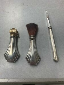 Antique Victorian Towle Sterling Silver Perfume Bottle Vanity Brush Set