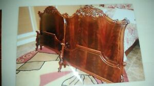 Vintage Spectacular Pair Twin Ornate Regency Style Carved Flamemahogany Beds