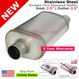 Stainless Steel Straight thru Muffler 2 5 Inch Inlet Two Outlets Offset 256407