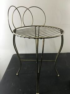 Vintage Metal Bedroom Vanity Chair Stool Gold Tone Retro K2