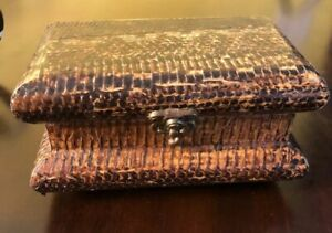 Antique Vintage Treasure Wood Chest Covered Snake Skin Box Hinged Is W Latch
