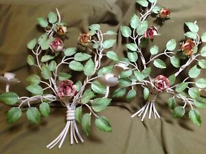 Italian Tole Floral Double Roses Candle Sconces Awesome Color Lush Chic Shabby
