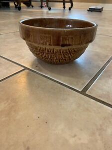 Old Vintage Stoneware Crock Pottery Tan Glaze Ribbed Ring Mixing Bowl Usa 7 In