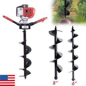 Durable 52cc Post Hole Digger One Man Earth Fence Auger Fence 6 8 Drill Bit Us