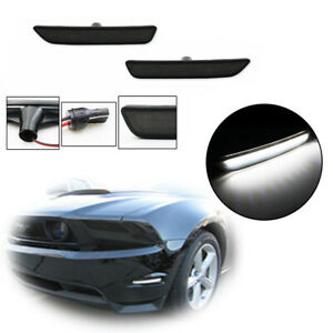 For 2010 2014 Ford Mustang Black Lens Front Bumper Side Marker White Led Lights