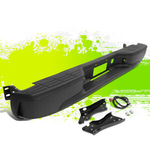 For 99 07 Silverado Sierra Fleetside Rear Step Bumper Face Bar Black 03 04 05 06