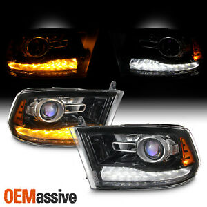 Factory Upgrade For 09 18 Dodge Ram Blk Led Drl Switchback Projector Headlight