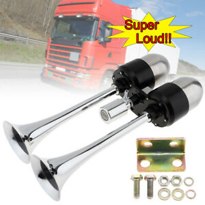 178db Silver Super Loud Dual Trumpet Car Air Horn W air Outlet Valve